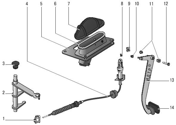 сцепления: 1 - поводок троса; 2 -вилка выключения сцепления; 3 -втулка оси вилки; 4 - трос; 5-уплотнитель; 6...